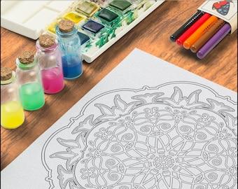 Lotus and Ladybug Coloring Page OrnaMENTALs #0003 PDF