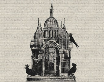 Victorian Birdcage Bird Cage Birds Crowns Wall Decor Art Printable Digital Download for Iron on Transfer  Tea Towel Fabric Pillows DT248