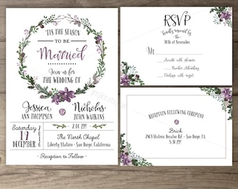 Winter wedding invitations wreath tis the season to winter wedding invitations lilac floral wreath tis the season to be married printable solutioingenieria Gallery
