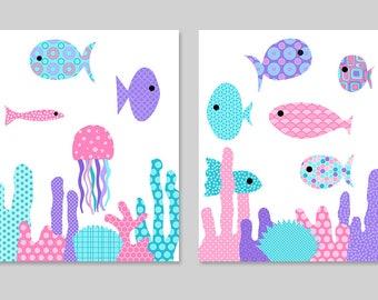 Fish Nursery Art, Ocean Nursery, Girls Nautical Nursery, Girl's Room Decor, Pink Purple Aqua Nursery, Sea, Coral, Beach House Decor, Ocean