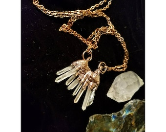 """Crystal Point """"Claw"""" Copper Electroformed necklace"""