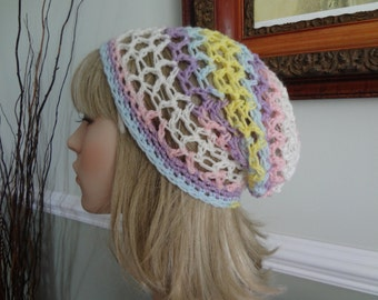 Lavender Lilac Purple Pink Blue Yellow Easter Spring Colors Open Weave Cotton Slouch, Tam Hat, Snood, Beret.  Great Summer Beach Hat.
