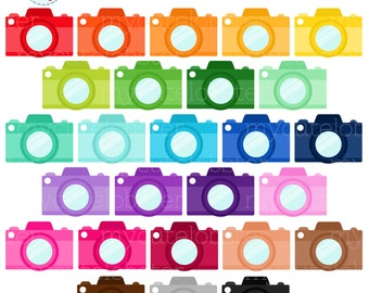 Rainbow Cameras Clipart Set - cameras clip art, photography, camera, photos, rainbow - personal use, small commercial use, instant download