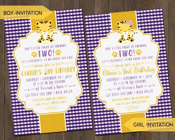 Lsu tiger birthday invitations andor thank you notes for boys like this item stopboris Image collections