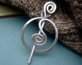 Spiraling Full Circle Shawl Pin, Aluminum Scarf Pin, Sweater Brooch, Shrug Fastener Light Weight Hammered Metal Closure, Womens Accessories