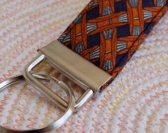 Mini Upcycled Silk Necktie Key Fob. Gift for Him Under 5 Stocking Stuffer Handmade Keychain Teen Teacher Coworker Ring Chain Keys