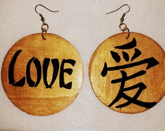 """Hand painted wood """"Japanese Love"""" earrings"""