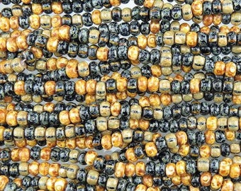 3/0 Aged Opaque Checkerboard Picasso Mix Czech Glass Seed Beads - 18 Inch Strand (AW262) SE