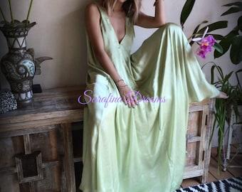 Liquid Satin Backless Nightgown Full Swing Lingerie Satin Sleepwear Satin Lingerie Satin Nightgown Bridal Wedding Lingerie Sleepwear