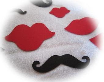 Mustache & Lips Confetti Party Decor Wedding Die Cut  Paper Card Accent Color Options