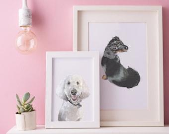 Pet Portrait Custom Illustrated Personalised Dog/ Cat Gift