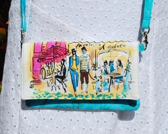 """iPhone X, 8, 8 Plus Android Cell Phone Purse Cross Body Shoulder Bags Zipper Pocket French Cafe """"Who's That Girl"""""""