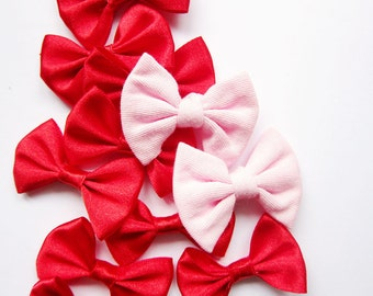 Fabric Bows in Red and Pink - For Sewing / Embellishing / Packaging - Set of 2