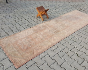 Vintage Rug Runner, 2'7'' by 9'4'', Salmon Color, Bohemian Rug, Hand Made rug, Anatolian Vintage rug, rugs, oushak turkish rug,