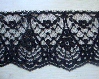 "Almost 2 yards 2 3/4"" width ( 70 mm ) double side scalloped edge black lace trim / black lingerie lace trim ST"