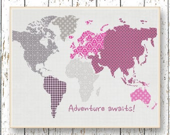 World map Pink and gray Adventure Awaits Family Room playroom print - Kids wall art Girl bedroom art for children