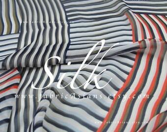 Red Grey Striped Silk Georgette by the yard