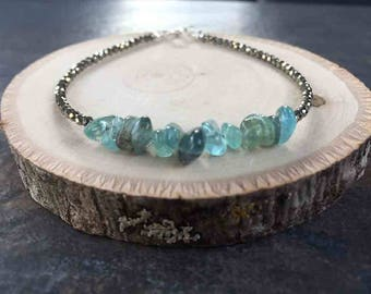 LifeBoho - Apatite Nugget and mini faceted Pyrite Strand Bracelet, Apatite Nugget Faceted Pyrite Bracelet, Sterling Silver, FREE SHIPPING