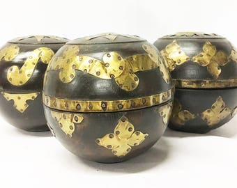 Mahogany and Brass Round Ball Boxes, Hand-Carved in Lombok, Indonesia