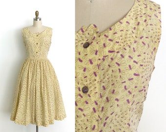vintage 1950s dress | 50s novelty bug print dress