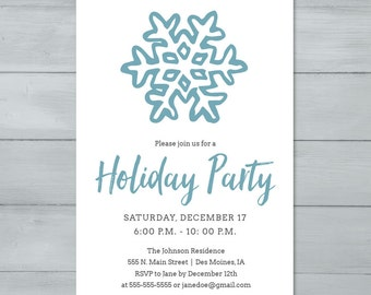 Snowflake Holiday Party Invitation  |  Christmas Party Invitation  |  Holiday Party Invite