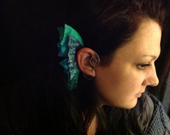 Blue Green Fairy Pixie Elf Ear Wings