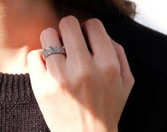 cz crown ring, princess ring, tiara ring, disney crown ring, silver crown ring, sterling silver ring, 925 crown ring, crown jewelry, crown