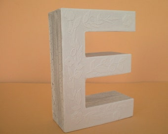 Personalized 3d Letter All in white/initial/monogram/letter E