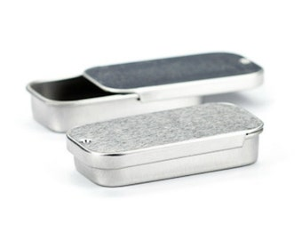 Metal Slide Top Tin Containers .25 oz for lip balm, crafts, storage, survival, sample container, small metal tin, small sliding tin - 5pk