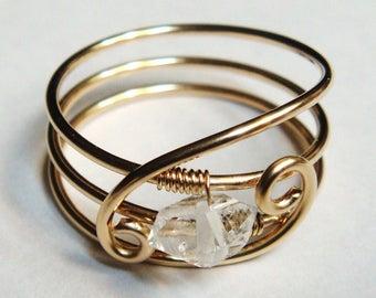 Herkimer Ring, Herkimer Gemstone, 14K Gold Filled Ring, Herkimer Jewelry, April Birthstone, April Birthday. Gold Ring, Rose Gold, Solid Gold