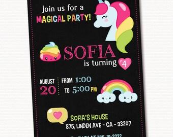 Unicorn Invitation, Unicorn Invite, Rainbow Invitation, Unicorn Party Invitation, Unicorn Birthday Invitation, PRINTABLE
