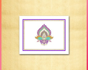 Indian Note Card / Mehndi Inspired Design / Moroccan, Middle East, India / Purple, Pink, Orange, Green, Aqua / Bollywood / Invitation