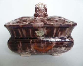 Large and rare Jasba german pottery jar with lid,ceramic jar,jewelry box,all purpose lidded box,candy box