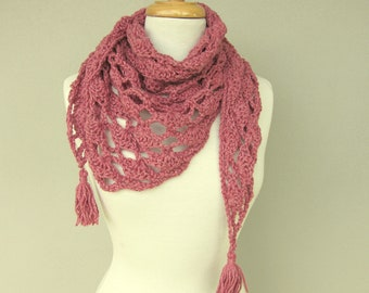 Pink Wool Shawl - Country Style Triangle Bandana Scarf - Dusty Rose Pink Winter Knitted Cowl