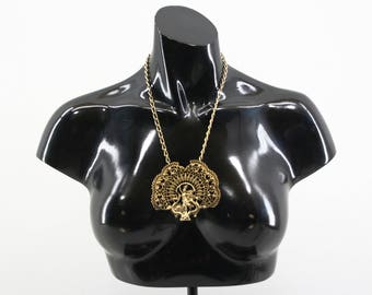 Vintage Oversize Gold Tone Greek Filigree Pendant Necklace