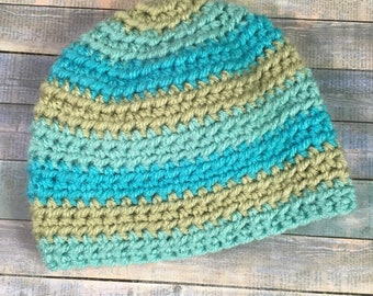 Handmade Crocheted Newborn Hat with Stripes