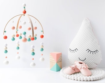 Peach and Mint Crib Mobile. Baby Girl Cot Mobile. Girls Nursery Mobile. Felt Ball Mobile. Change table. Peach Aqua Mint Coral Nursery Decor