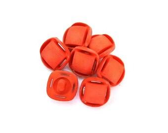 10 Vintage plastic buttons square shape beautiful dark orange 13mm