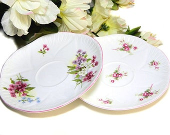 Two Shelley Bone China Saucers Bridal Rose and Mixed Floral England