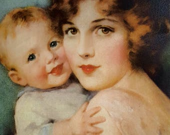 """Reproduction Vintage print """"Baby Mine"""" in Antique Frame No.3"""