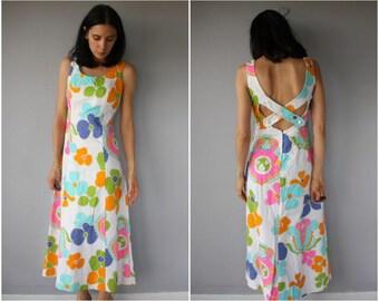 Vintage 1960s Maxi Dress • 60s Dress • 1960s Dress • Hawaiian Dress • 1970s Bohemian Dress • 70s Maxi Dress  -  (small)