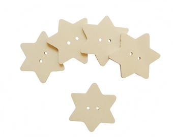Star shaped wood buttons for DIY 12 PCS