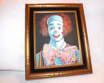 Sale- Framed 13 X 11 Signed With Cerificate 1982 Clown Oil Painting on Canvas  Nursery Artwork Wall Hanging Home Decor Capsteam Epsteam