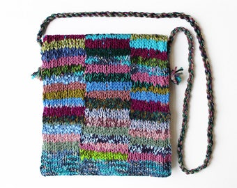 Heather Eco Handbag - Purple knitted bag made from up-cycled yarns - Upcycled purple and green patchwork bag lined with denim, pocket inside