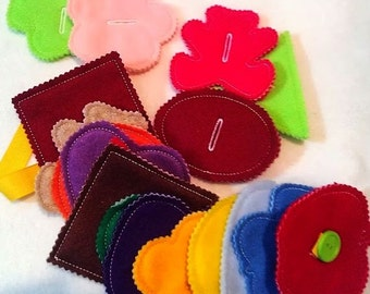 Felt button snake Deluxe set busy bag or quiet book project- educational game learning toy #3850D