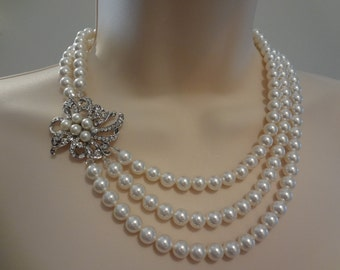 Wedding Bridal Pearl Necklace Vintage Style, 3 strand necklace, Triple strand necklace, Aimee III PN041
