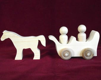 Horse Drawn Wagon for Peg Dolls, Unfinished  Pine One Horse Wagon