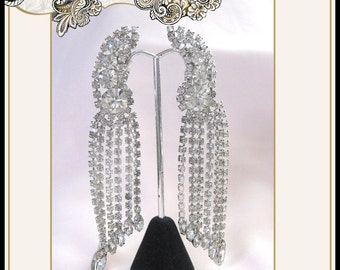 REDUCED Vintage Ear Climbing Rhinestone Dangle Earrings Wedding Bridal Christmas Prom Party