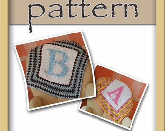 PATTERN Monogram Initial Crochet Baby Afghan with 26 letter charts - Instant Download