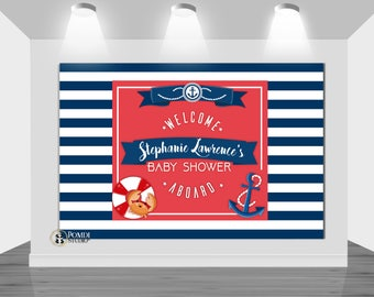 DIGITAL Printable Backdrop||Ahoy Baby Shower|| Nautical Baby Shower|| Customizable|| Any Wording|| You Print The File